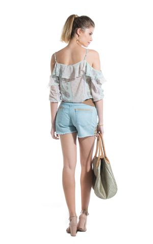 SHORTS CORDAO LATERAL-JEANS CLARO