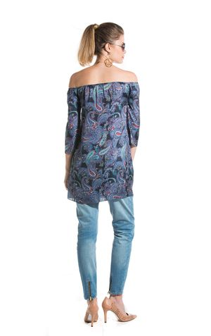 TUNICA OFF SHOULDER LUCY-ESTAMPA MARINHO