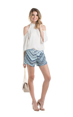 SHORT TRANSPASSE CAROL ESTAMPA AZUL
