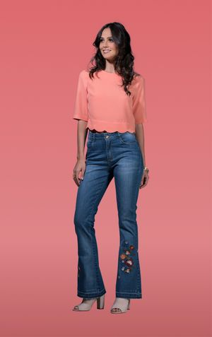 CALCA FLARE BORDADA-JEANS