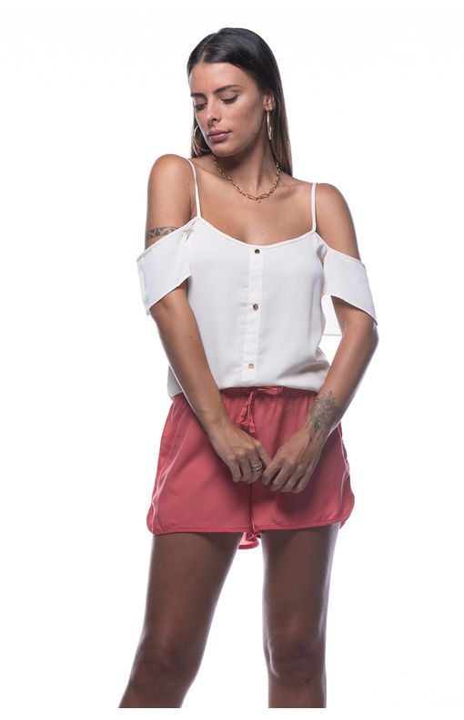 Blusa com Botoes Frontais-OFF WHITE