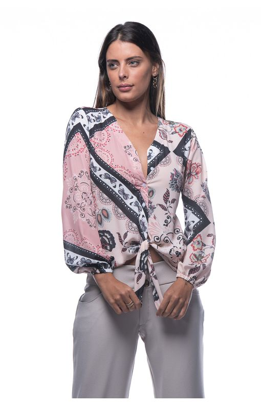 Camisa com No Frontal-ESTAMPADO PINK