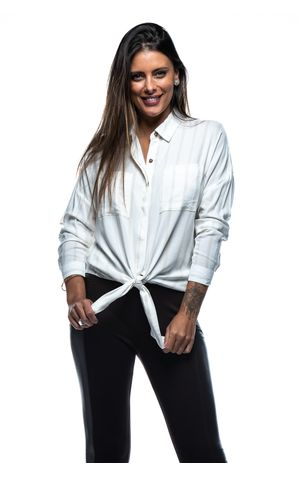 Camisa com Bolso Frontal-OFF WHITE